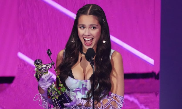 Olivia Rodrigo, 18, wins the award for song of the year for Drivers License at the MTV Video Music Awards in New York.